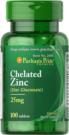 Puritan's Pride Zinc Chelate 25 mg 100 Tablets
