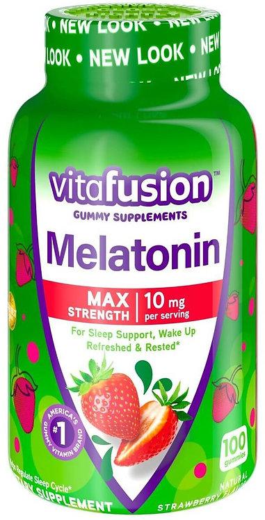Vitafusion Max Strength Melatonin 10 mg/ 100 Gummies Natural Strawberry Flavor