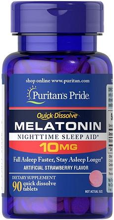 Puritan's Pride Melatonin 10 mg/ 90 Strawberry Tbs