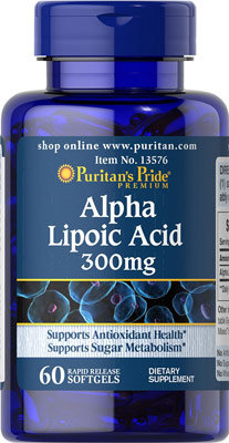 Puritan's Pride Alpha Lipoic Acid 300 mg/ 60 Softs