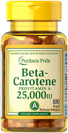 Puritan's Pride Beta-Carotene 25000 IU/100 Softgel