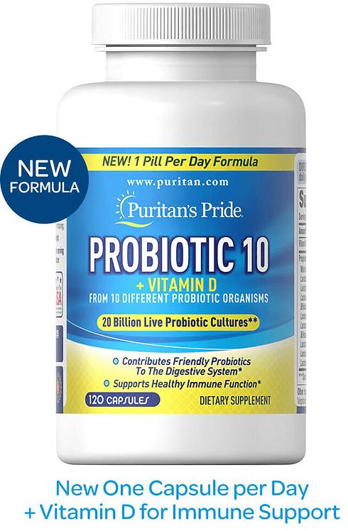 Puritan's Pride Probiotic 10-20 billion with vitamin D/ 120 Capsules