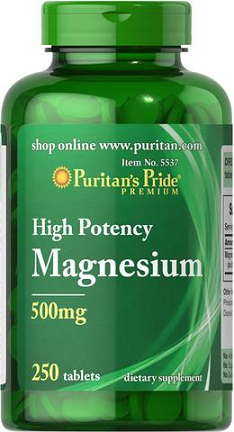 Puritan's Pride Magnesium 500 mg/ 250 Tablets