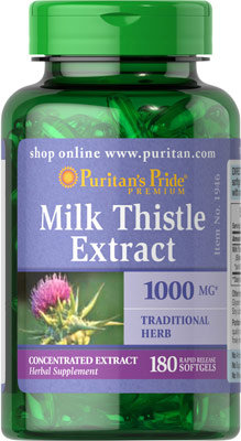 Puritan's Pride Milk Thistle 1000 mg/ 180 Softgels