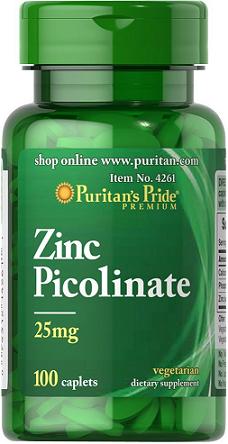 Puritan's Pride Zinc Picolinate 25 mg/ 100 Caplets