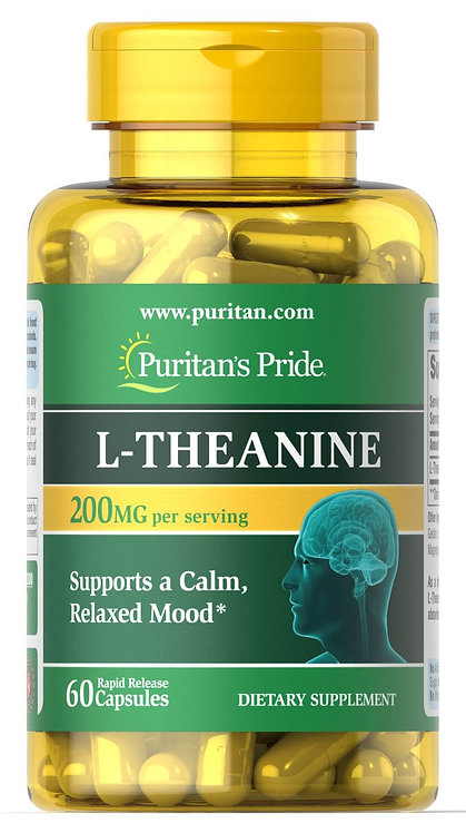 Puritan's Pride L-Theanine 200 mg per serving/ 60 Capsules