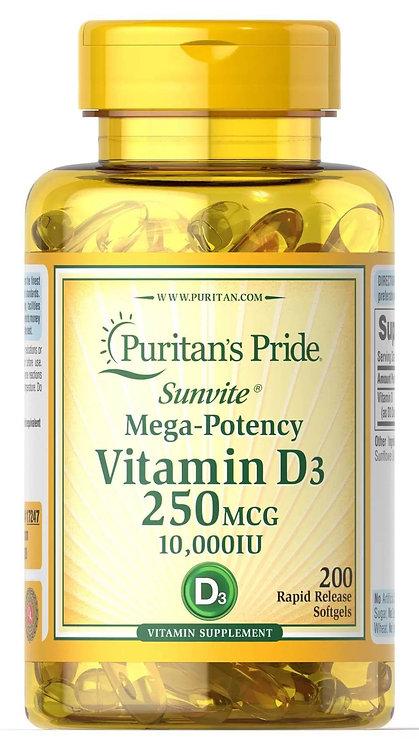 Puritan's Pride Vitamin D3 10,000 IU 250 mcg/ 200 Softgels