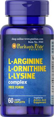 Puritan's Pride L-Arginine L-Ornithine L-Lysine