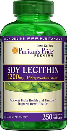 Puritan's Pride Soy Lecithin 1200 mg/ 250 Softs
