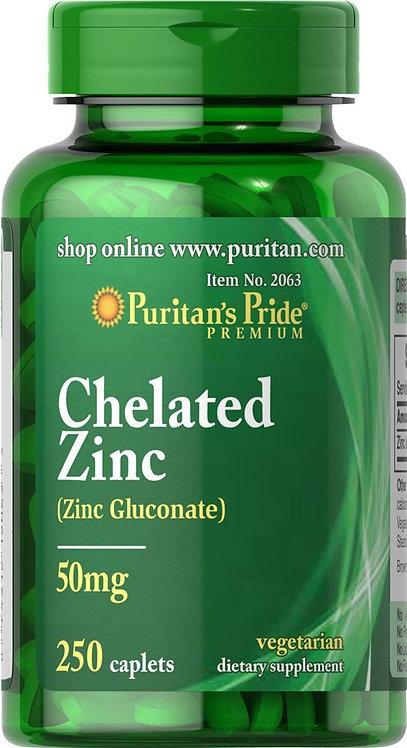 Puritan's Pride Zinc Chelate 50 mg 250 Caplets