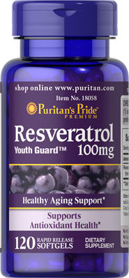 Puritan's Pride Resveratrol 100 mg/ 120 Softgels