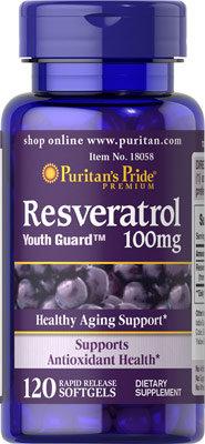Puritan's Pride Resveratrol 100 mg/ 120 Softgels