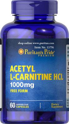 Puritan's Pride Acetyl L-Carnitine 1000mg/ 60 Caps