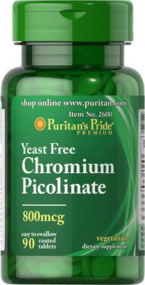 Puritan's Pride Chromium 800 mcg/ 90 Tabs
