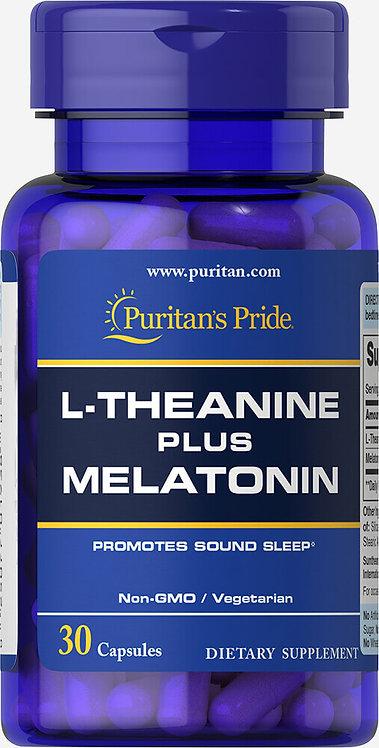 Puritan's Pride L-Theanine Plus Melatonin 30 Capsules