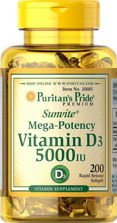 Puritan's Pride Vitamin D3 5000 IU/ 200 Softgels