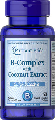 Puritan's Pride Vitamin B-Complex & Coconut Extract Quick Dissolve 60 Tablets