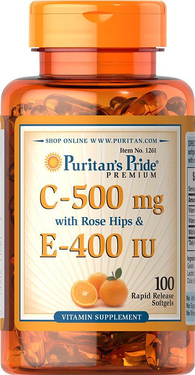 Puritan's Pride Vitamin C & E 500 mg/400 IU/ 100 Softgels