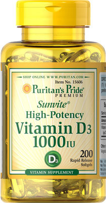 Puritan's Pride Vitamin D3 1000 IU/ 200 Softgels