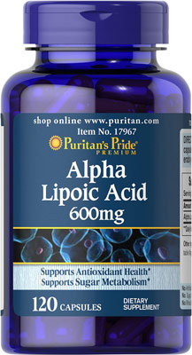 Puritan's Pride Alpha Lipoic Acid 600 mg/ 120 Caps