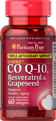 Puritan's Pride Co Q-10, Resveratrol & Grapeseed 60 softgels