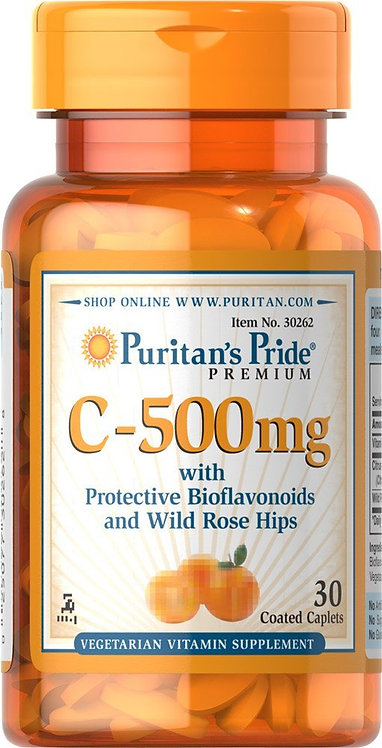 Puritan's Pride Vitamin C-500 mg/ 30 Caplets