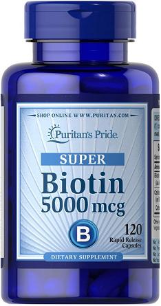 Puritan's Pride Super Biotin 5000 mcg/120 Capsules