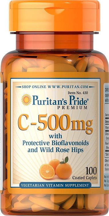 Puritan's Pride Vitamin C-500 mg/ 100 Caplets