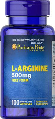 Puritan's Pride L-Arginine 500 mg/ 100 Capsules