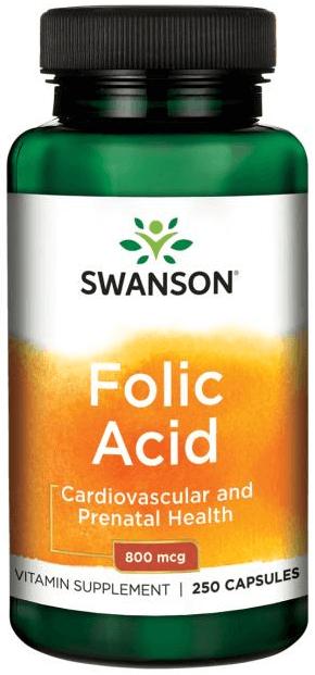 Swanson Premium Folic Acid 800 mcg/ 250 Caps