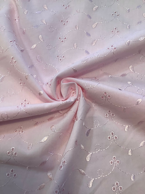 Baby Pink Cotton Broderie Anglaise