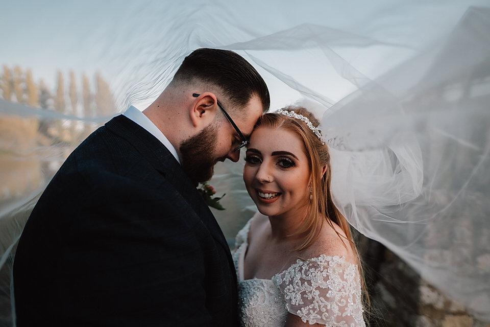 Bride and groom veil shot Pontefract wed