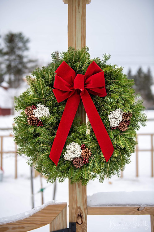 Red Barn Wreath Original (Choice of Bow Color)