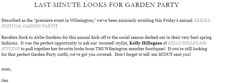LAST-MINUTE LOOKS FOR GARDEN PARTY BLOG POST WITH THE SCOUT GUIDE WILMINGTON