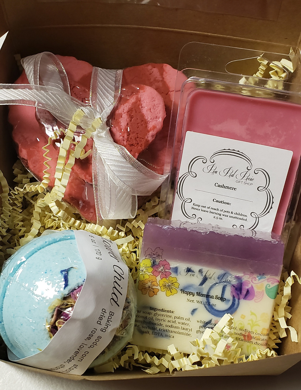 Mother's day gift set with bath bomb, soap, bubble bath, and wax tart.