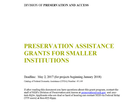 Grant Deadlines for Digitization and Preservation