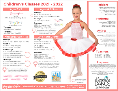 Children's Dance Schedule