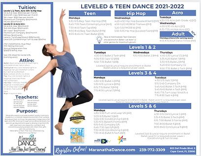Leveled Dance Schedule