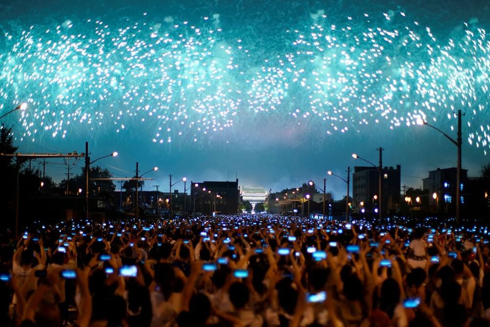 china aniversario celebracion fuegos artificiales republica 70 años comunismo telefonos fiesta nacional desfile militar