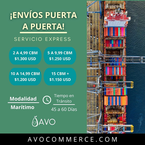 avo tarifa envio puerta puerto china venezuela servicio express avocommerce comercio importar exportar