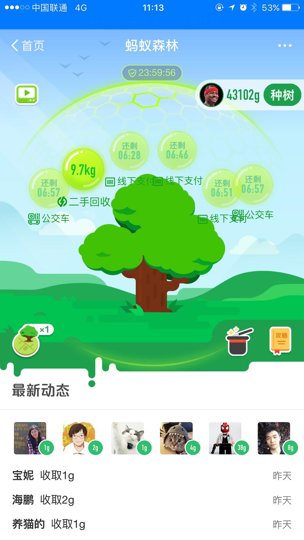 Ant forest reciclar app aplicacion plataforma interfaz juego arboles premio plantar verde ambiente ropa vieja