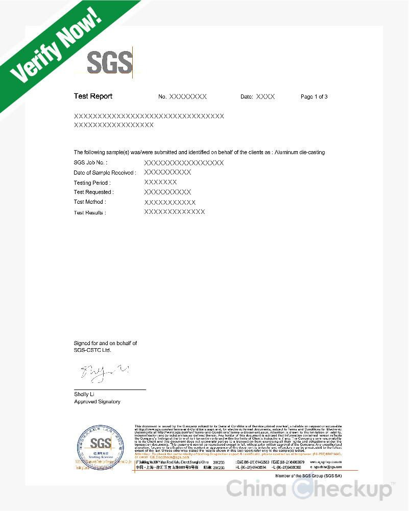 reporte pruebas laboratorio productos estandares especificaciones proveedor china