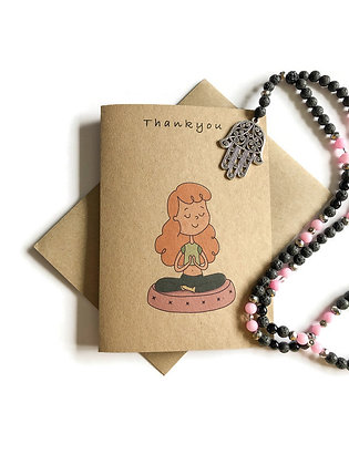 Yoga Thank You Card on recycled brown card