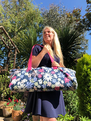 Yoga Mat Bag in Navy Blue with Pink Flowers