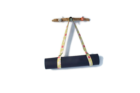 Green Yoga Mat Strap with mat