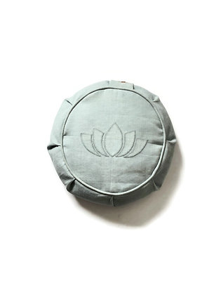yoga meditation cushion with lotus flower