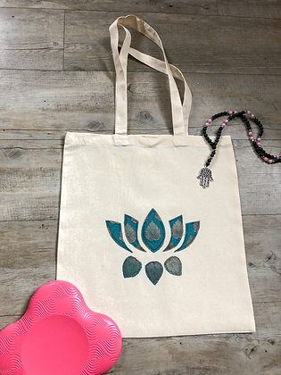 yoga tote bag with lotus flower
