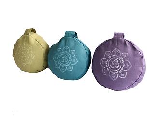 Buckwheat Meditation Yoga Cushion Amethyst, Olive and Jade Green with Om
