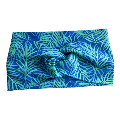 yoga headband in blue palm trees