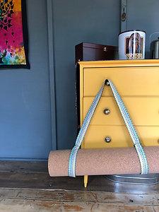 Yoga Mat Strap, Yoga Mat Carrier in Boho Stripe Sling